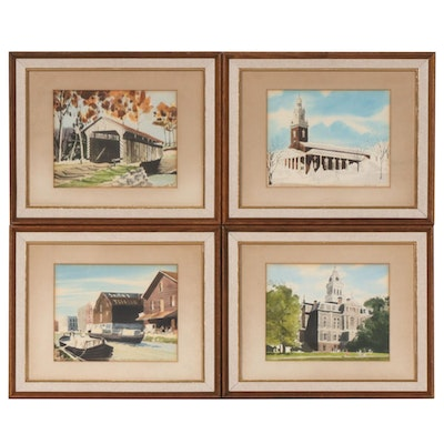 Wilson Gray Hand-Painted Lithographs of Licking County, Ohio