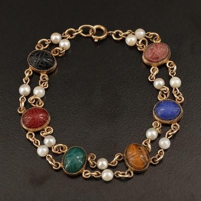 Double Row Multiple Gemstone Scarab Bracelet