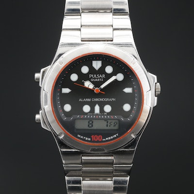 Pulsar Alarm Chronograph Stainless Steel Quartz Wristwatch