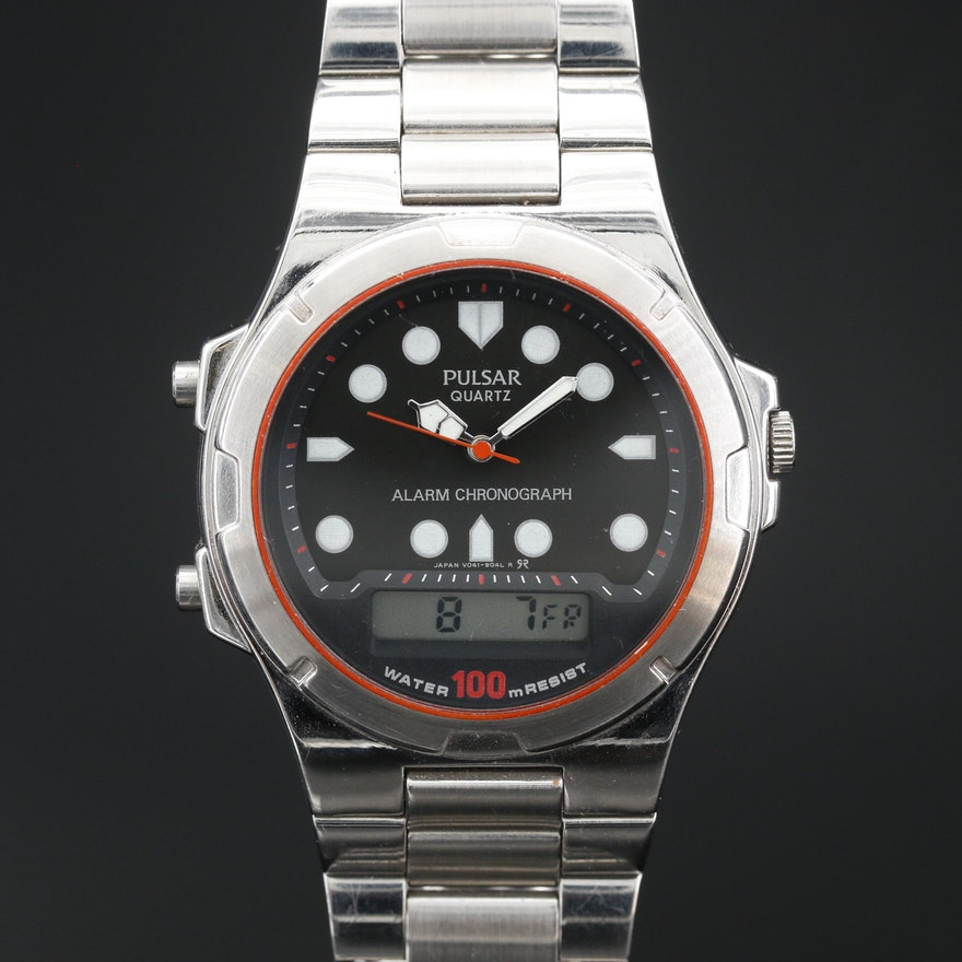 Pulsar Alarm Chronograph Stainless Steel Quartz Wristwatch