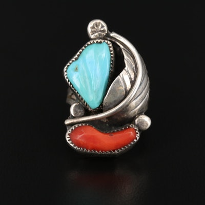 Bernadette Eustace Cochiti-Zuni Sterling Silver Coral and Turquoise Feather Ring