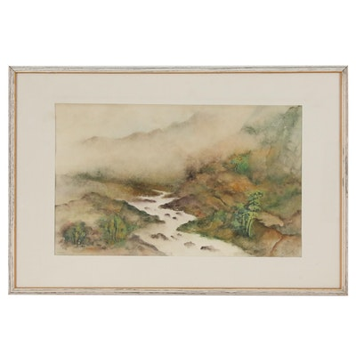 Landscape Watercolor Painting of Misty Stream