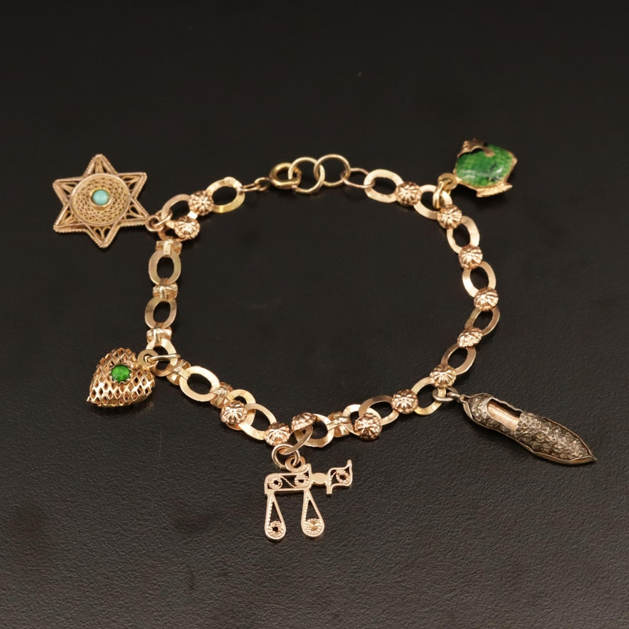 14K, 18K and 800 Silver Charm Bracelet Featuring Chai Charm and Star of David