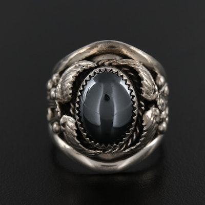 Signed Western Sterling Silver Hematite Ring with Applique Design