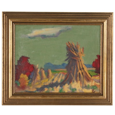 Oil Painting of Landscape with Haystacks, Mid to Late 20th Century