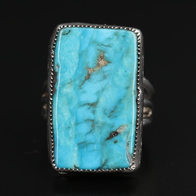 Western Sterling Silver Turquoise Ring with Sun Motif Stampwork