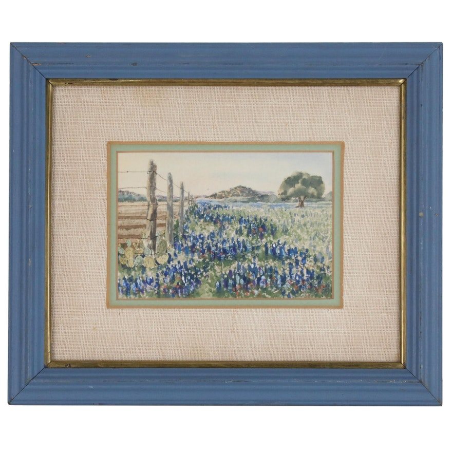 Landscape Watercolor Painting of Flower Farm, Late 20th Century