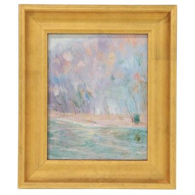 Tree-Lined Coastal Landscape Oil Painting
