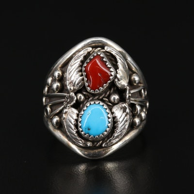Signed Western Sterling Turquoise and Coral Feather Applique Ring