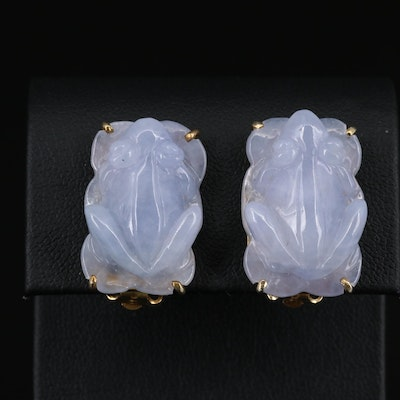 Sterling Silver Carved Jadeite Frog Earrings