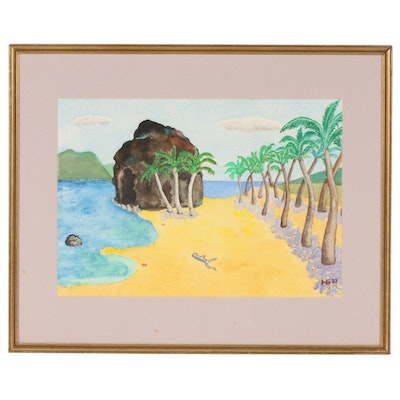 Folk Art Beach Scene Watercolor Painting, 1987