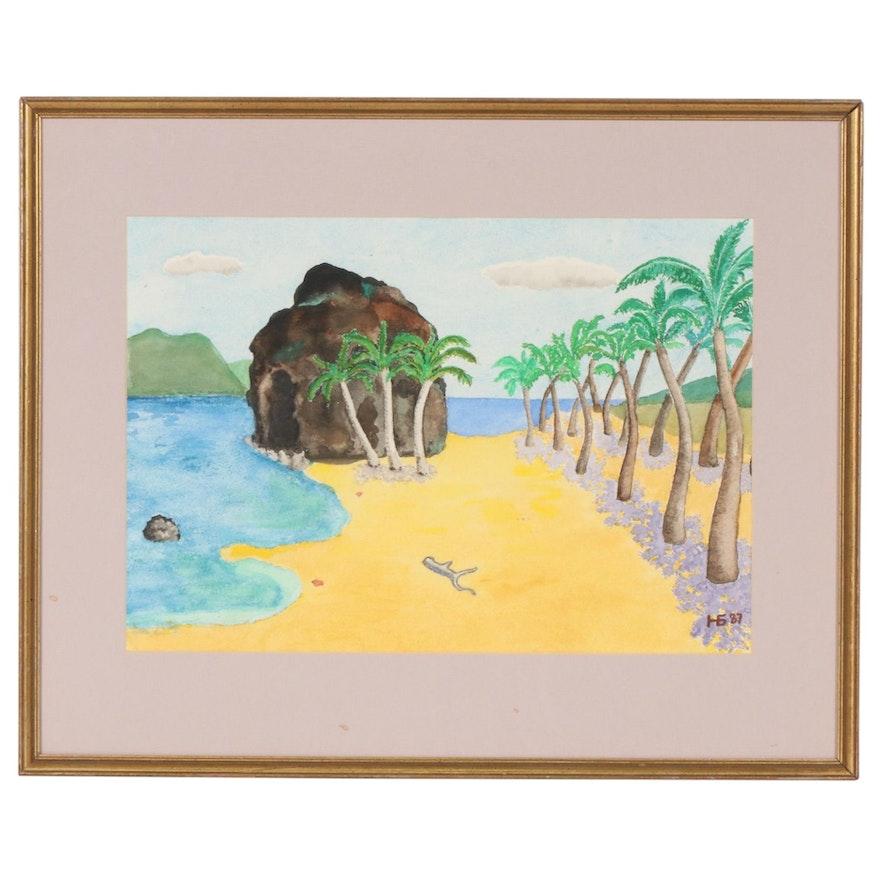 Folk Art Beach Scene Watercolor Painting, 1987
