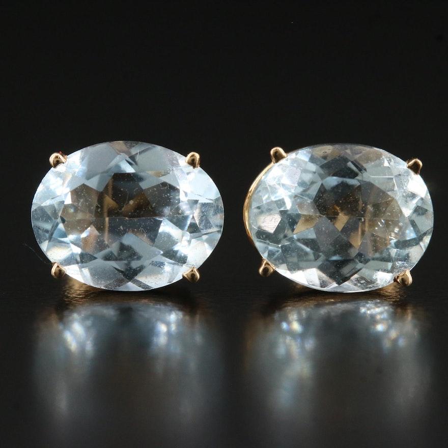 14K Aquamarine Stud Earrings