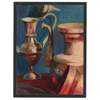 "Farshad Lanjani Oil Painting ""Still Life"", 1990"