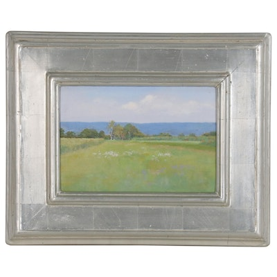 Meadow Landscape Oil Painting, Late 20th Century