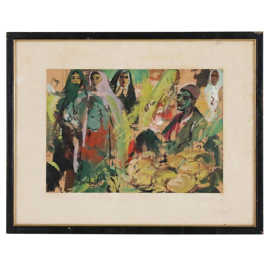 Gouache Painting of Market Scene, Late 20th Century