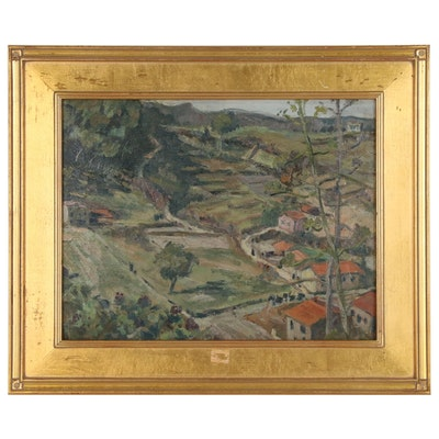Levitt Purdy European Countryside Landscape Oil Painting
