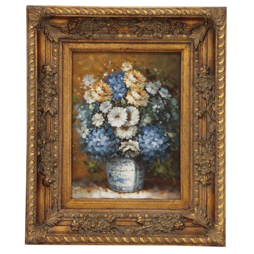 Decorative Floral Still Life Oil Painting, 21st Century