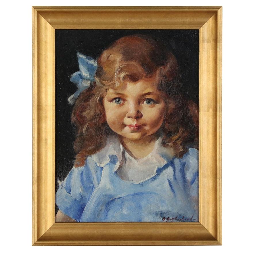 Portrait Oil Painting of Little Girl in Blue Dress