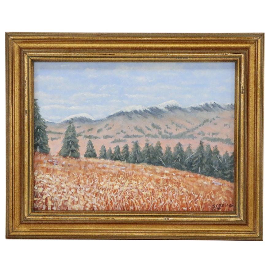 Mountain Landscape Acrylic Painting, 1999