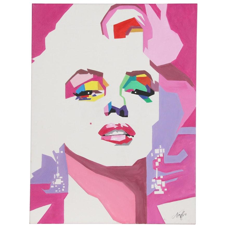 Stylized Portrait Acrylic Painting of Marilyn Monroe