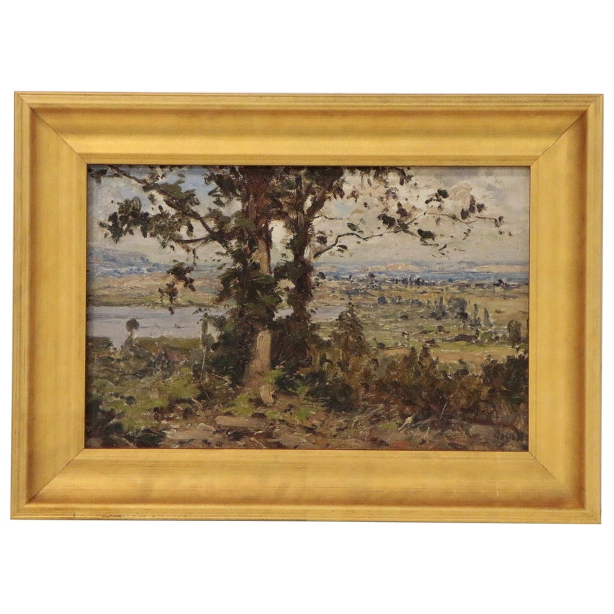 European Countryside Oil Painting, Mid to Late 20th Century