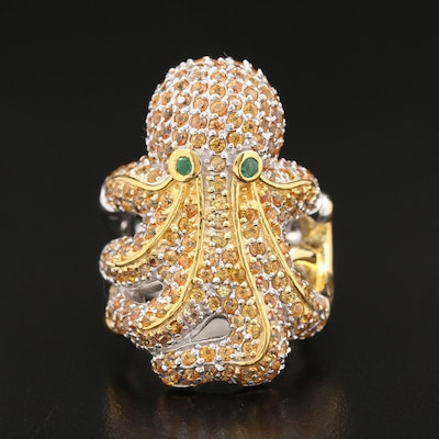 Sterling Emerald and Sapphire Octopus Ring