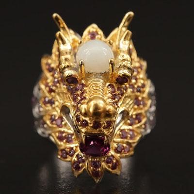 Sterling Opal, Garnet and Amethyst Dragon Ring