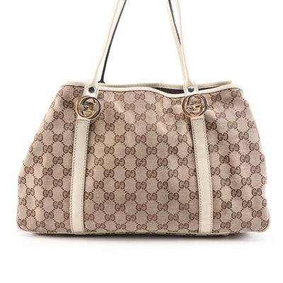 Gucci GG Canvas Shoulder Bag with Off-White Leather