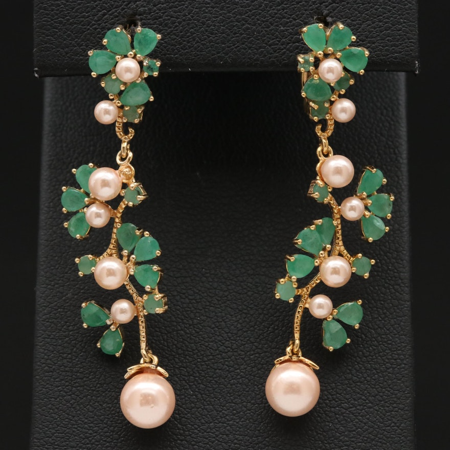 Sterling Silver Emerald and Faux Pearl Dangle Earrings