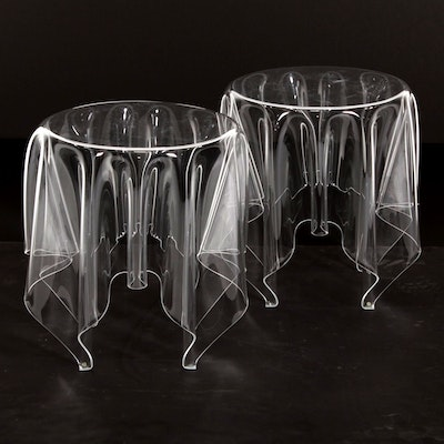 John Brauer for Essey Pair of Clear Acrylic Handkerchief Tables, Contemporary