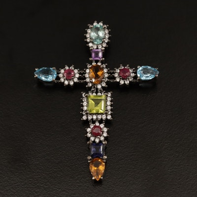 Sterling Silver Cross Pendant Featuring Blue Topaz, Citrine and Peridot