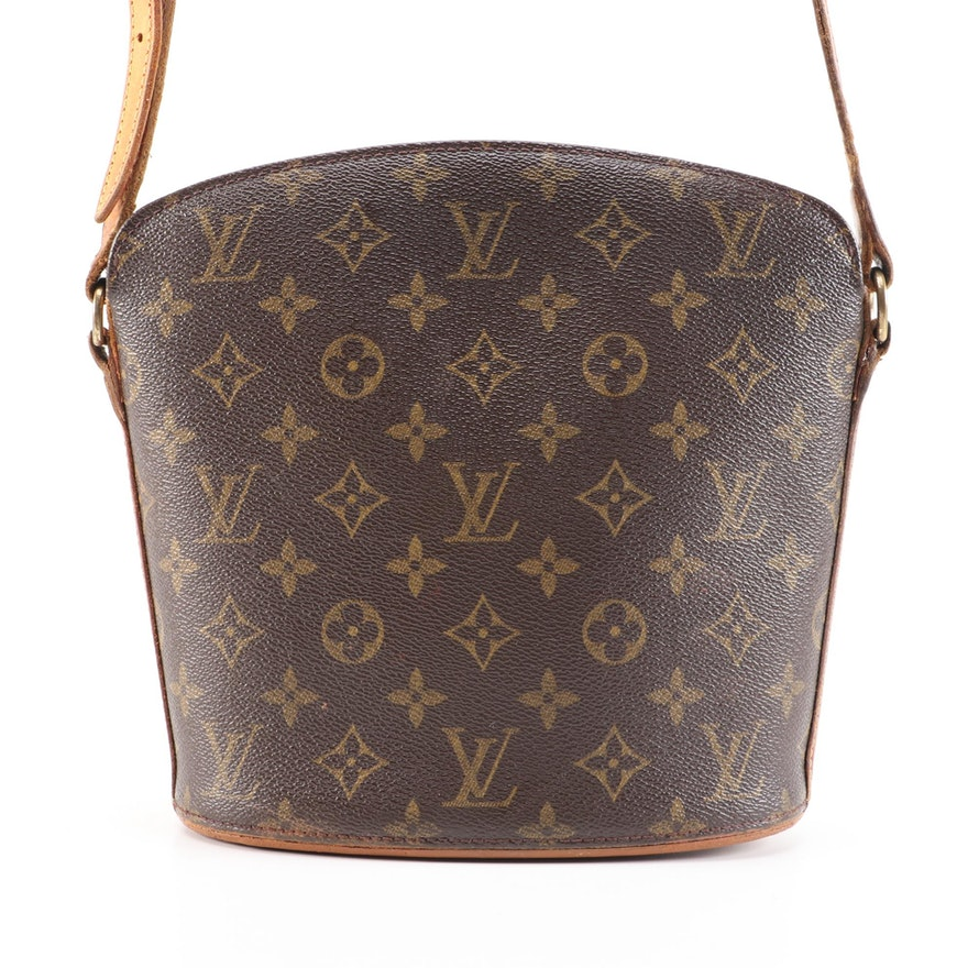 Refurbished Louis Vuitton Drouot in Monogram Canvas and Vachetta Leather