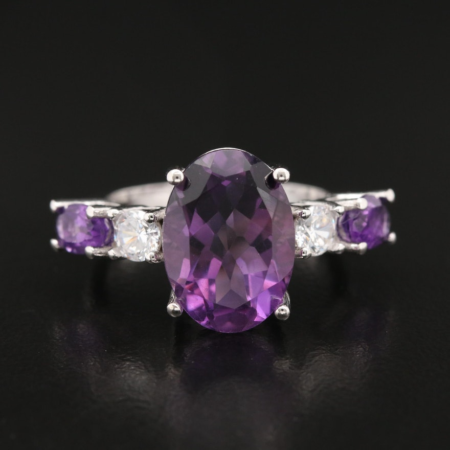 Sterling Silver Amethyst and Cubic Zirconia Ring
