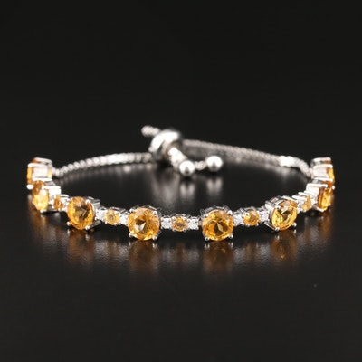 Sterling Silver Citrine and Cubic Zirconia Bolo Bracelet