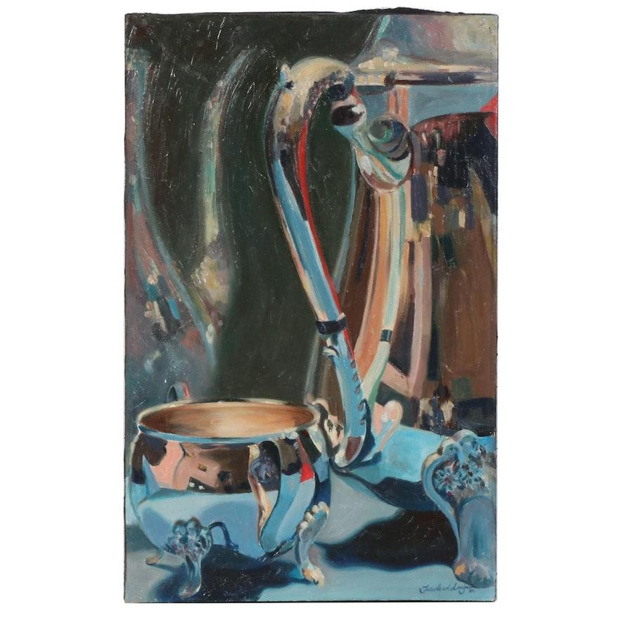 "Farshad Lanjani Oil Painting ""Reflection"", 1989"