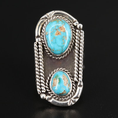 Western Sterling Silver Turquoise Pointer Ring with Twisted Rope Accents