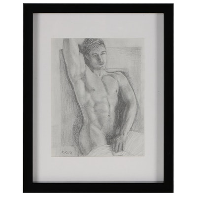 Kevin Ford Figural Graphite Drawing of Draped Male Nude