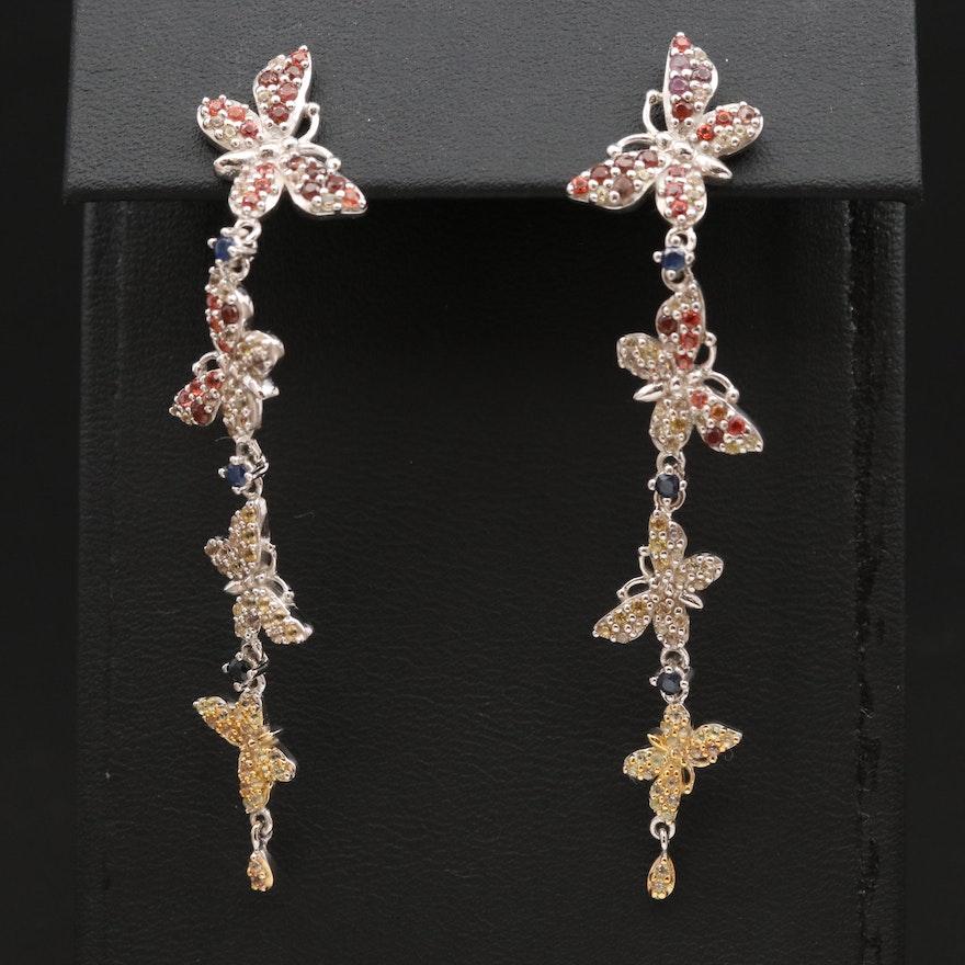 Sterling Silver Sapphire Butterfly Dangle Earrings