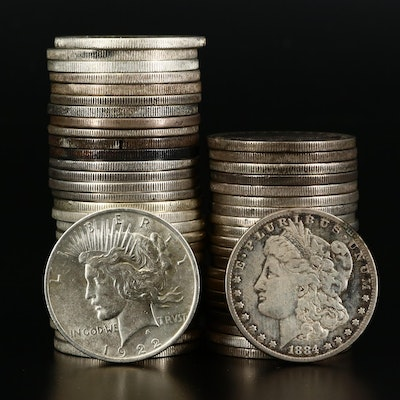Fifty-One Morgan and Peace Silver Dollars