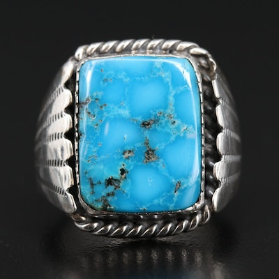 Sterling Silver Turquiose Square Ring