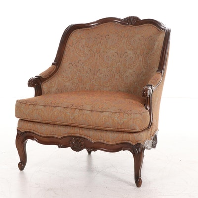 Lillian August Wood Frame Chair with Jacquard Upholstery, 21st Century