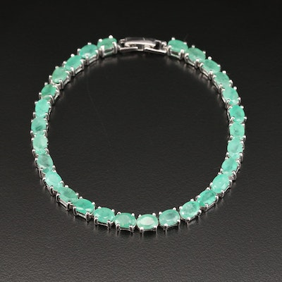 Sterling Oval Emerald Line Bracelet