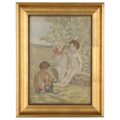 Oil Painting of Two Childen and Faun, 1906