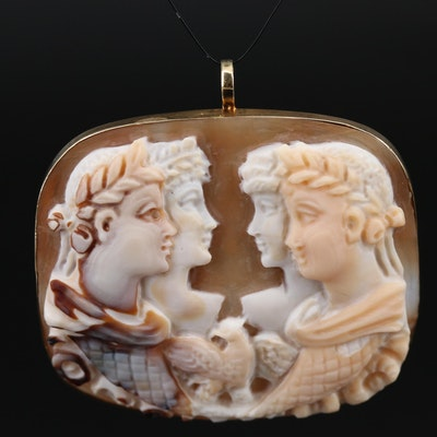 Sterling Silver Carved Shell Cameo Pendant