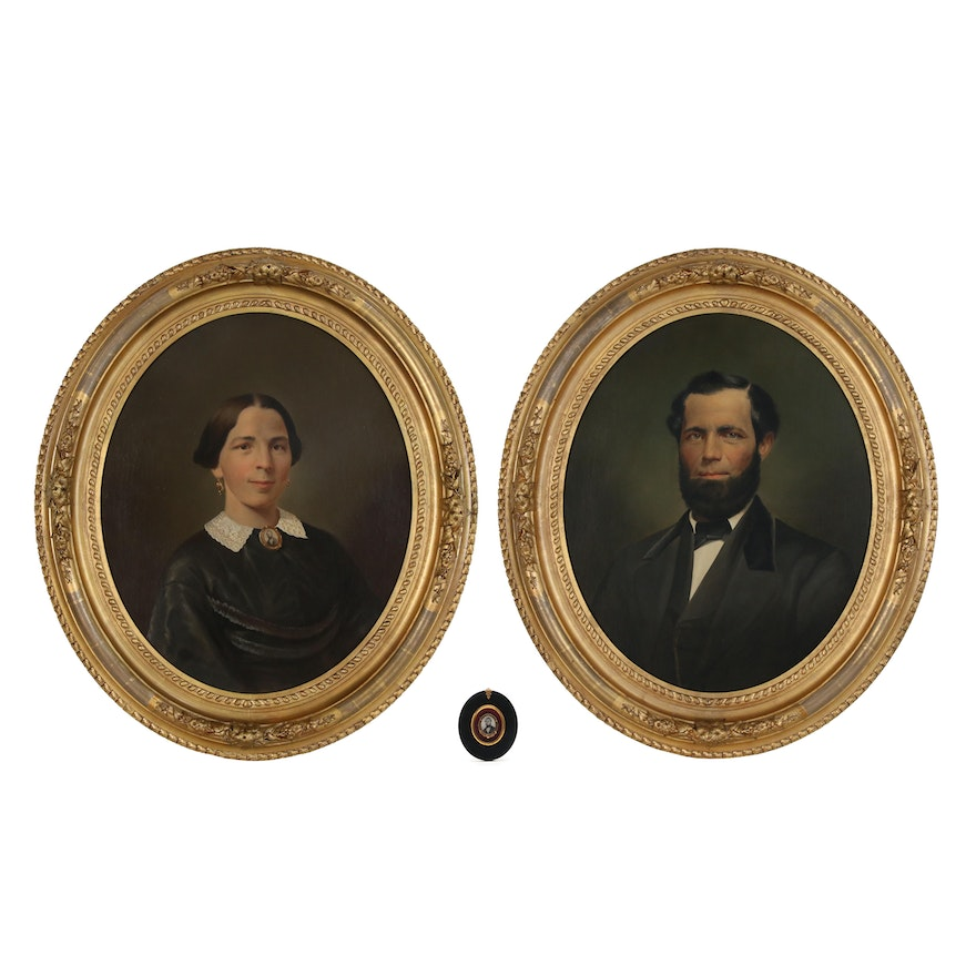 Oil Portraits and Brooch of Ludwig Jacob and Justina Marie Weber, 1864