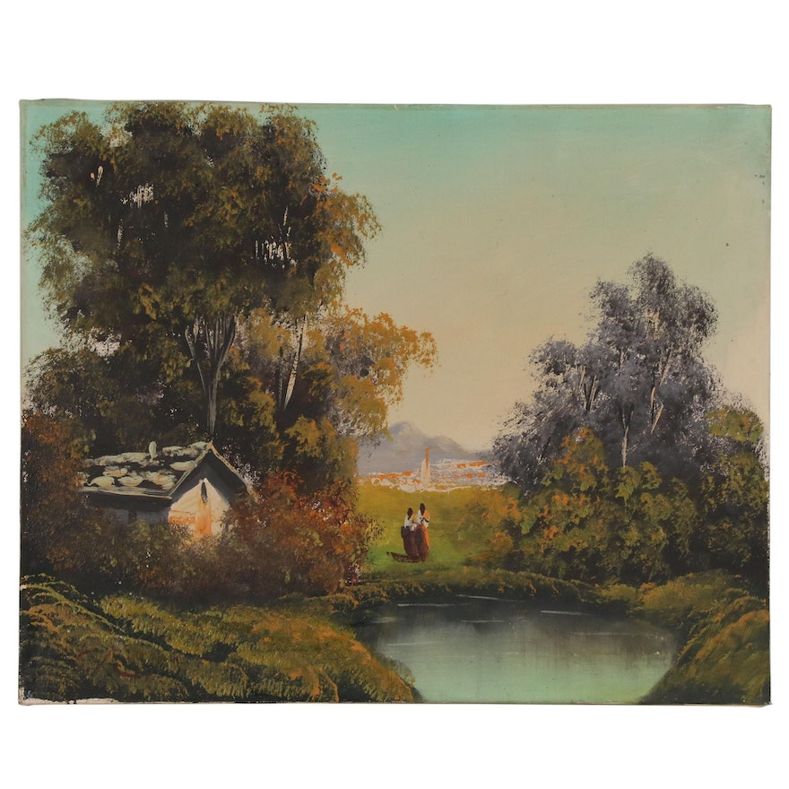 Landscape Oil Painting of Pastoral Scene with Figures, Late 20th Century