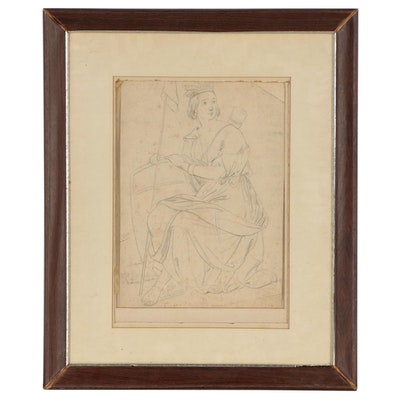 Graphite Drawing of an Allegorical Female Figure, Early to Mid-20th Century