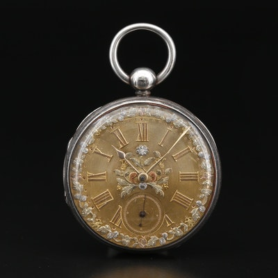 1846 M.I. Tobias & Co. Sterling Silver Fusee Open Face Pocket Watch