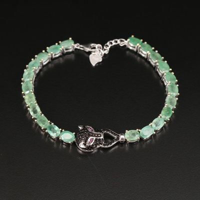 Sterling Silver Emerald, Cubic Zirconia and Ruby Panther Head Bracelet